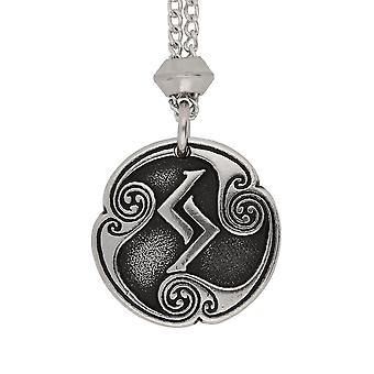 Handmade Norse Viking Jera Rune of Harvest 12th Runic Letter Pewter Pendant ~ 22 inch Chain