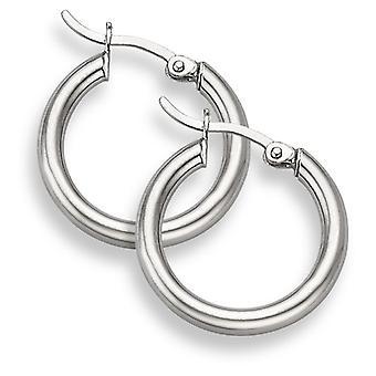 14K White Gold Hoop Earrings - 7/8