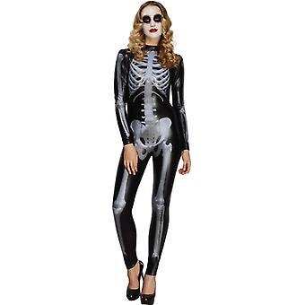 Fever collection Miss whiplash printed skeleton costume black Catsuit size S