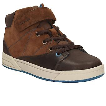Clarks Thema Hallo Junior Boys braun Wildlederstiefel