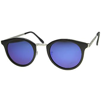 Horn Rimmed Sunglasses With UV400 Protected Mirrored Lens