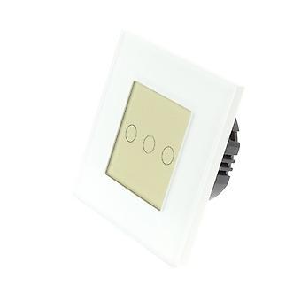 Yo LumoS vidrio marco 3 cuadrilla 1 manera táctil LED luz blanca cambiar oro inserto