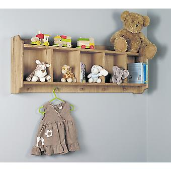 Amelie Oak Wall Shelf with Hanging Pegs - Baumhaus