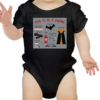 Vampire Steps Halloween Baby Bodysuit Black Cute Baby Boy Bodysuit