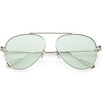 Premium moderne Metal Aviator solbriller enkelt pande Bar farve tonet flad linse 57mm