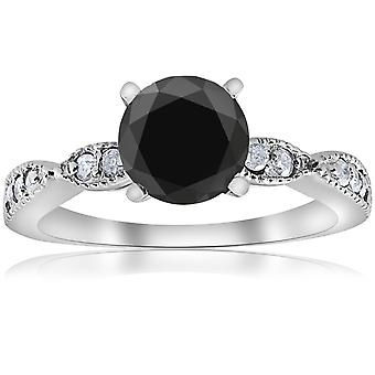 2 1/4ct Black & White Diamond Engagement Ring 14K White Gold