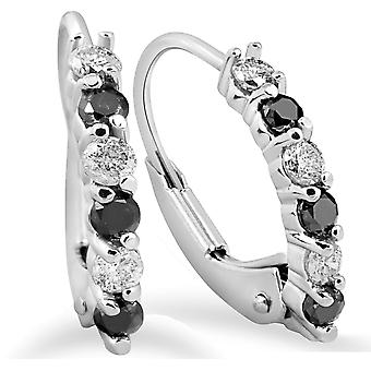 1 / 4ct Diamanten 14K White Gold Creolen klein 1/2