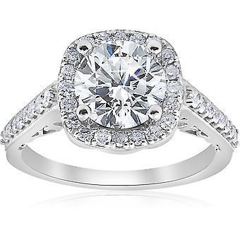 3 ct diamante cojín Halo Vintage anillo de compromiso 14k oro blanco mejorado