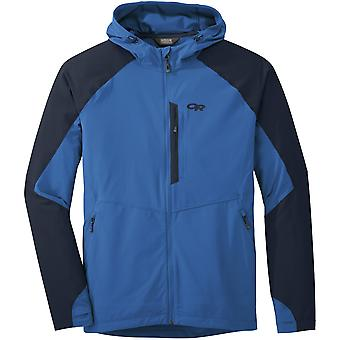 Outdoor Research Mens Ferrosi Hooded Jacket Glacier/Night (Large)