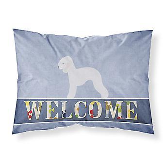 Bedlington Terrier Welcome Fabric Standard Pillowcase