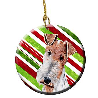 Wire Fox Terrier Candy Cane Christmas Ceramic Ornament
