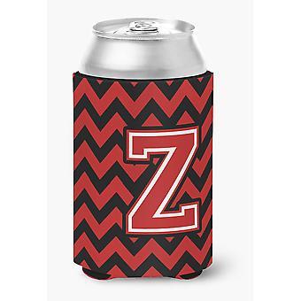 Letter Z Chevron Black and Red   Can or Bottle Hugger