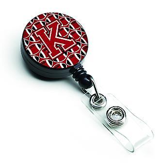 Buchstabe K Fußball rot, schwarz und weiß versenkbare Abzeichen Reel