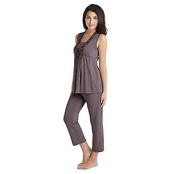 Chiffon Trim Bamboo Maternity & Nursing PJ Set with Robe (3 pc.)
