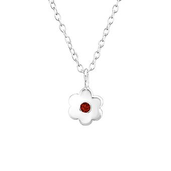 Birthstone Flower - 925 Sterling Silver Jewelled Necklaces - W34917x