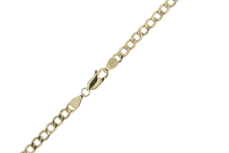 Bracelet chaîne cubaine de Curb creux or jaune 10 k et de la cheville, 0,17 pouce (4.3 mm)