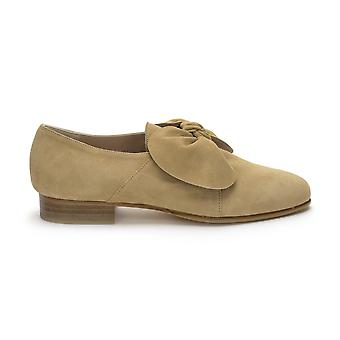 Quoque women's M10132CAMEL brown suede leather moccasins