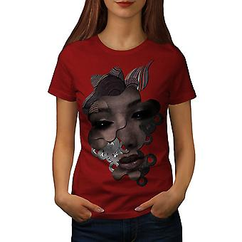 Android Face Cool Fashion Women RedT-shirt | Wellcoda