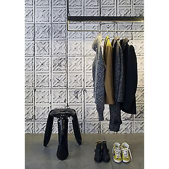 Brooklyn Tins Wallpaper by Merci 1000 x 48.7 cm 1-Roll Non-Woven Back Wallpaper, White/ Grey