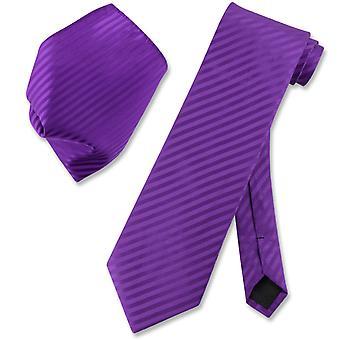 Vesuvio Napoli Striped NeckTie & Handkerchief Matching Men's Neck Tie Set