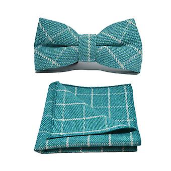 Cyan Birdseye Check Bow Tie & Pocket Square Set