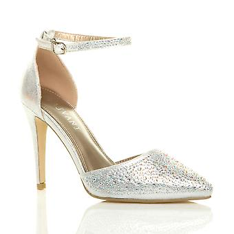 Ajvani womens high heel pointed ankle strap prom wedding diamante court shoes sandals