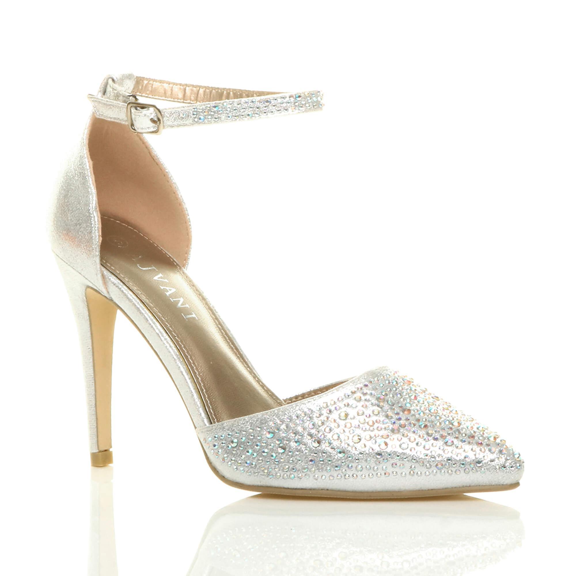 Ajvani Damen high Heels spitz Knöchel Abschlussball Hochzeit Diamante Gericht Schuhe Sandalen