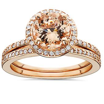1 3/4 Carat Morganite & Diamond Halo Engagement Wedding Ring Set 14K Rose Gold