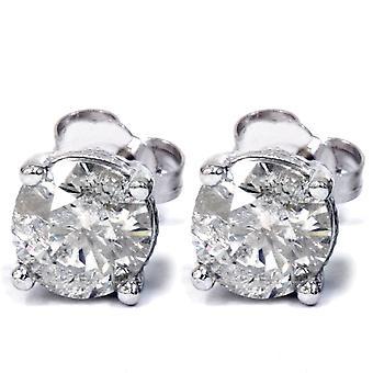 1 1/3ct Diamond Vintage Accent Studs 14K White Gold