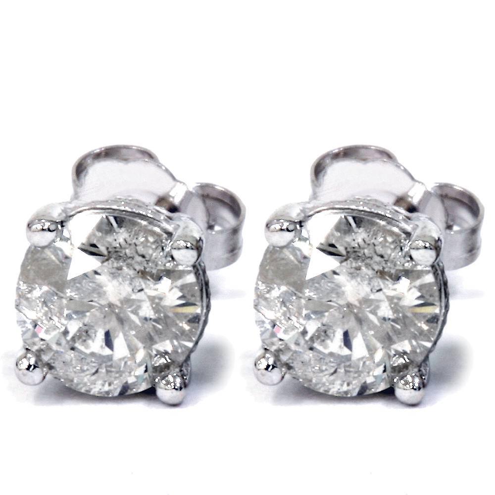 1 1 3ct Diamond Vintage Accent Studs 14K blanc or