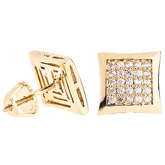 Iced out bling micro pave earrings - KITE 10 mm gold
