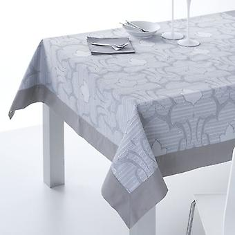 ES-TELA Jacquard tablecloth with gray Cangas napkins with applique
