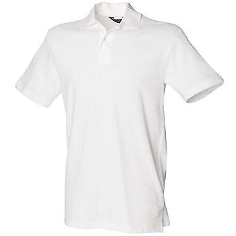 Henbury Mens Stretch Pique Short Sleeve Polo Shirt White,Black,Red,Navy