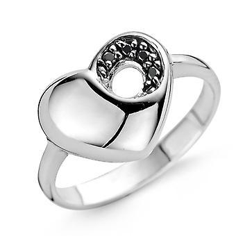 Orphelia plata 925 anillo corazón negrita negro circonio ZR-3755