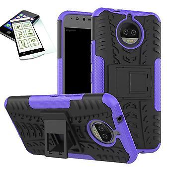 Couvre les cas hybride de 2 pièces violet pour Motorola Moto G5S plus + housse sac de balles