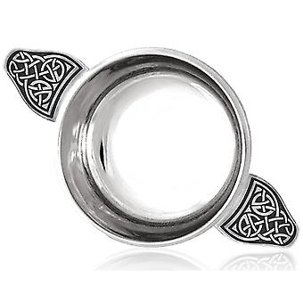 Celtic Knot Handle Pewter Quaich with Celtic Knot Band - 3.5