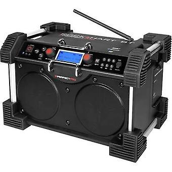 PerfectPro Rockhart BT DAB+ Workplace radio AUX, Bluetooth Battery charger, splashproof, dustproof, shockproof, rechargeable Black