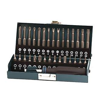 Bit set 31-piece Wolfcraft 1386000 Phillips, Square socket, TORX BO, Allen BO, Tri-Wing, TORQ, Spanner