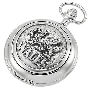 Woodford Welsh Dragon Quartz Chain Pocket Watch - Silver