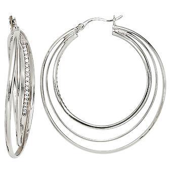 Cerchi girato 925 argento rodiato con zirconi Orecchini argento