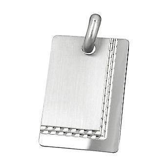 Kettenanhänger Anhänger Gravurplatte matt-diamantiert rhodiniert Silber 925