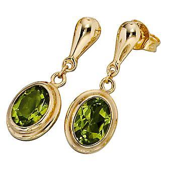 Peridot earrings 585 Gold Yellow Gold 2 Peridote green Stud Earrings gold