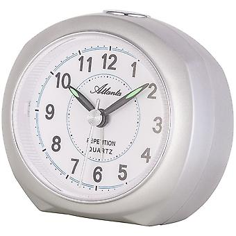 Atlanta 1593/19 alarm clock quartz analog silver quietly without ticking with light Snooze
