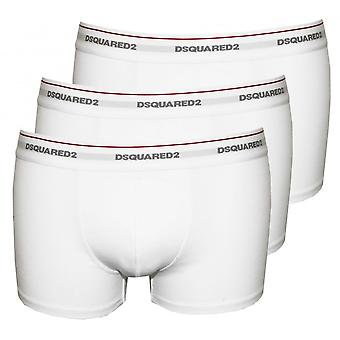 DSquared2 3-Pack Jersey Cotton Stretch Low-rise Boxer Trunks, White