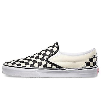 Vans Classic Slip On Canvas Checkerboard Trainers   Black