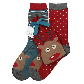 Reindeer 2 pair gift bag of women's soft bamboo crew socks | Thought