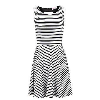Ladies Sleeveless Black/White Peep Back Skater Flare Women's Dress
