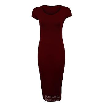 GRAFFIC New Ladies Cap Sleeve Summer Plain Long Maxi Women's Dress