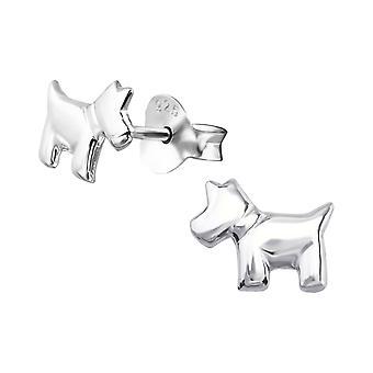 Dog - 925 Sterling Silver Plain Ear Studs - W19022X