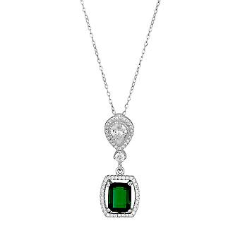 Orphelia 925 Silver Pendant with Chain 42 CM with Emerald and Zirconium